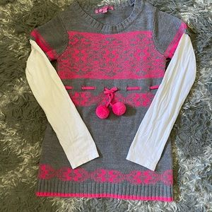 Girls knit Sweater gray and pink large